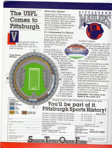 USFL Pittsburgh Maulers Ticket Offer Sheet